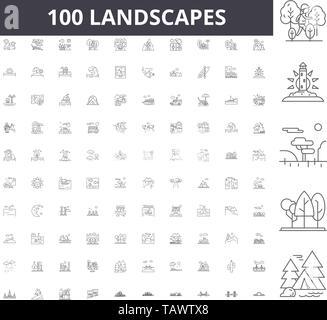 Landscapes line icons, signs, vector set, outline illustration concept  - Stock Image