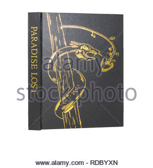 The Folio Society edition of Milton's 'Paradise Lost', standing and showing spine and front cover.  Isolated on white background. - Stock Image