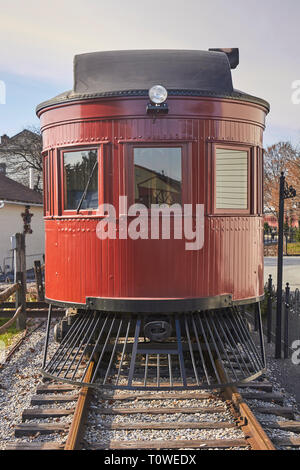A self propelled rail car, sometimes called a doodlebug or hoodlebug at the Strasburg Rail Road in Lancaster County Pennsylvania, USA - Stock Image