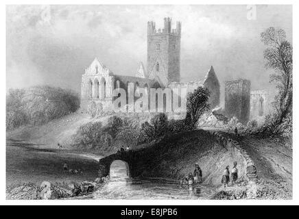 Terpoint Abbey Republic Ireland circa 1840 - Stock Image