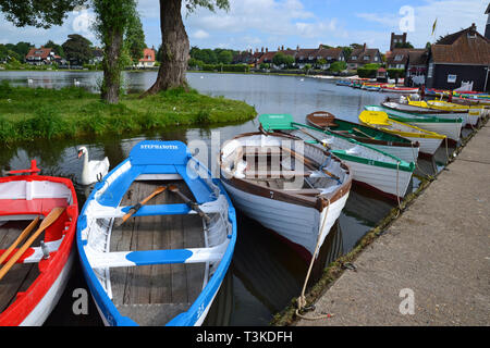 Rowing Boats for hire at Thorpeness Meare, Thorpeness, Suffolk, England, UK - Stock Image