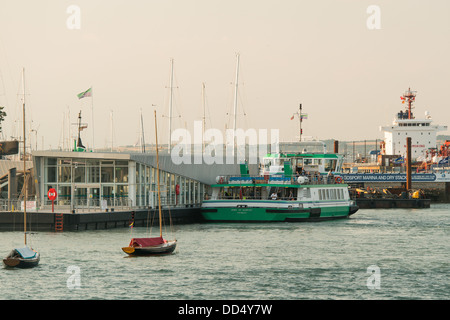The green ferry 'Pride of Gosport' moored at the Gosport Ferry terminal prior to departing to Old Portsmouth - Stock Image