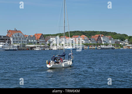 view of Travemuende from Priwall, Travemuende, Schleswig-Holstein, Germany - Stock Image