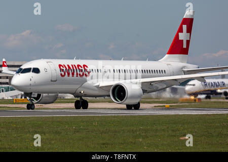 Swiss International Airways Bombardier CS300, or as it is now known,an Airbus A220-300,registration HB-JCM, at Manchester Airport, England. - Stock Image