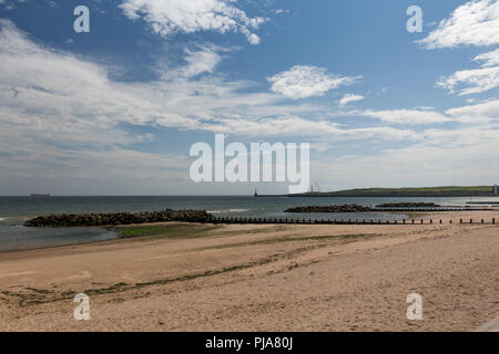 A summers day from Aberdeen Beach Boulevard. Taken while the tide was out looking towards the south breakwater and Girdle Ness Lighthouse. - Stock Image