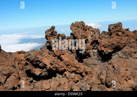 Mount Teide, Tenerife, Canary Islands. Volcanic Larva on the Top of the Volcano. - Stock Image