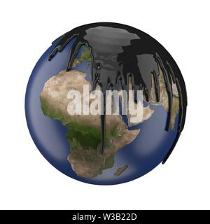 earth covering with petrol or oil. suitable for fuel, oil, enery and future themes. 3d illustration - Stock Image