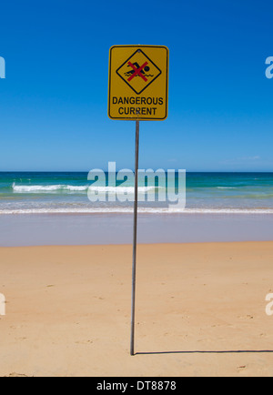 Dangerous Current sign on an Australian beach - Stock Image