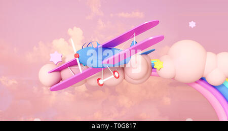 3D Render Illustration. Blue airplane in the clouds on a pink background. - Stock Image