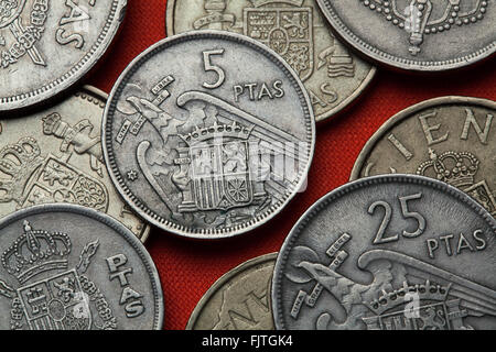 Coins of Spain. Coat of arms of Spain under Franco depicted in the Spanish five peseta coin (1957). - Stock Image