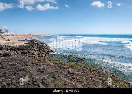 Views of Maspalomas beach, in Maspalomas, Gran Canaria Island, Canary Islands, Spain, on February 19, 2017 - Stock Image