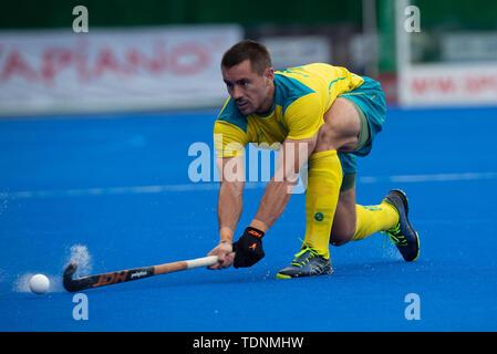 Krefeld, Germany, June 16 2019, hockey, men, FIH Pro League, Germany vs. Australia:  Jeremy Hayward (Australia) hits the ball. - Stock Image