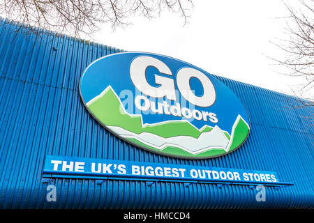 Go outdoors clothing store outdoor store sign on building outdoor supplies UK England - Stock Image