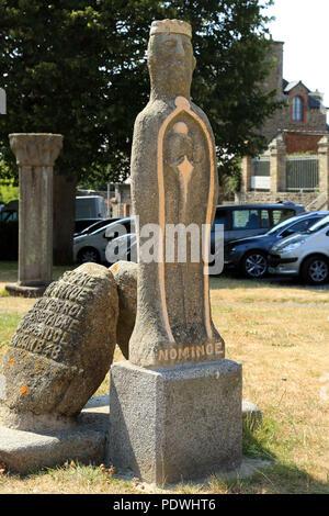 Statue of Nominoe outside cathedral in Place de la cathedrale, Dol de Bretagne, Ille et Vilaine, Brittany, France - Stock Image