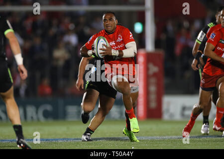 Tokyo, Japan. 19th Apr, 2019. Semisi Masirewa (Sunwolves) Rugby : 2019 Super Rugby match between Sunwolves 23-29 Hurricanes at Prince Chichibu Memorial Stadium in Tokyo, Japan . Credit: YUTAKA/AFLO SPORT/Alamy Live News - Stock Image