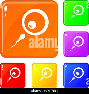 Donor sperm icons set vector color - Stock Image