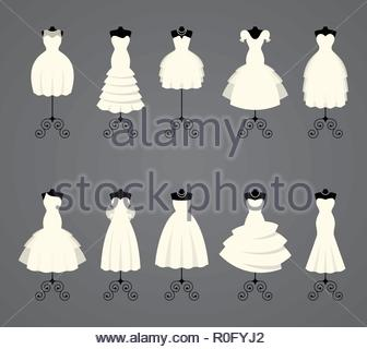 Wedding dresses in different styles - Stock Image