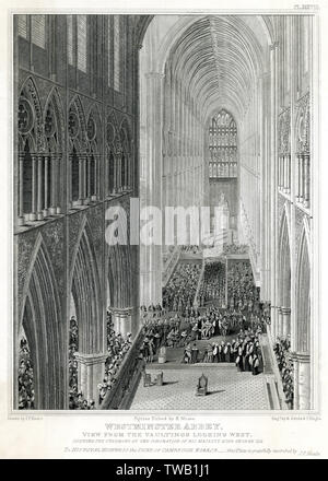 View from the vaulting looking west in Westminster Abbey, London.      Date: 19 July 1821 - Stock Image