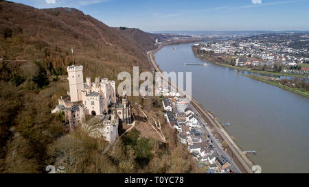Koblenz, Germany. 22nd Mar, 2019. The aerial photograph with a drone shows Schloss Stolzenfels. The restored original of the fountain eagle from Stolzenfels Castle is now inside the summer hall, where it was supposed to stand during the winter according to an originally issued Prussian order. A copy of the historical statue of a bird of prey decorates the fountain in front of the summer hall. The original eagle had been a gift to the Prussian King Friedrich Wilhelm IV. Credit: Thomas Frey/dpa/Alamy Live News - Stock Image