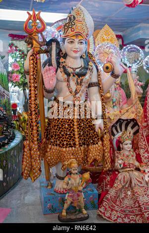 A statue of the Hindu deity Shiva at the Dayaram Mandir in Jamaica, Queens, New York City. - Stock Image