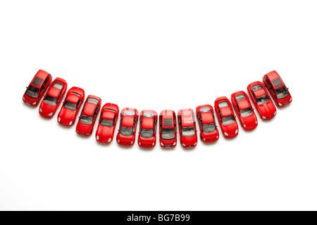 Model Cars in Smile Shape - Stock Image