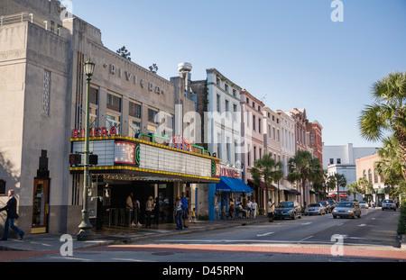 Riviera Theater on King Street, Charleston, South Carolina, USA - Stock Image