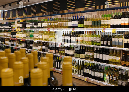 Drinks selection, Carrefour supermarket, Torremolinos, Costa del Sol, Malaga Province, Andalusia, southern Spain. - Stock Image