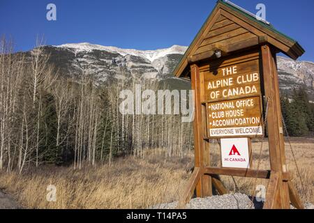 Alpine Club of Canada (ACC) Clubhouse Sign at Bow Valley Highway near City of Canmore in Alberta Foothills of Canadian Rocky Mountains - Stock Image