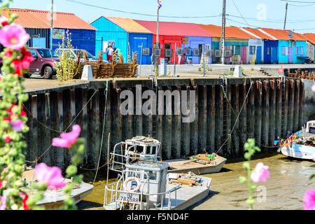 Le Petit Village, France 5 August 2015: Oyster farming site on Ile d Oleron, Charente Martime - Stock Image