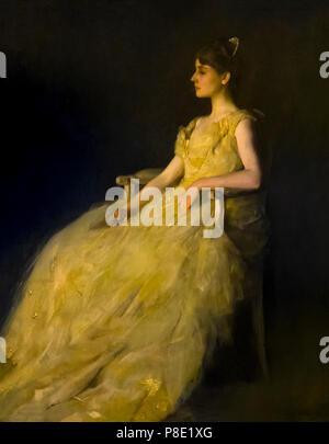 Lady in Yellow, Thomas Wilmer Dewing, 1888, Isabella Stewart Gardner Museum, Boston, Mass, Massachusetts, North America, US, USA - Stock Image