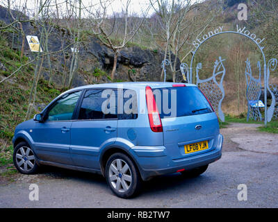 Derbyshire, UK. 06th Jan, 2019. An abandoned light blue Ford Fusion + car parked at Stoney Wood entrance, Wirksworth, Derbyshire, since the New Year has been reported to the Police as possible missing persons or abandoned vehicle, it's near the potentially dangerous old Tarmac Middle Peak Quarry workings Credit: Doug Blane/Alamy Live News - Stock Image
