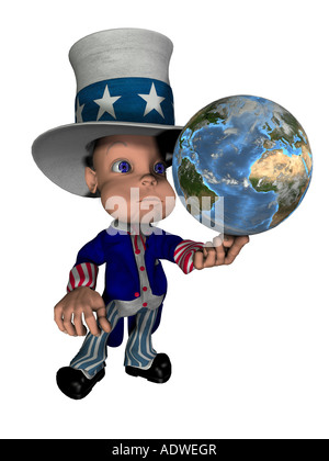 National figure Uncle Sam balances the globe on the finger as symbol for control and the influence of the USA on - Stock Image