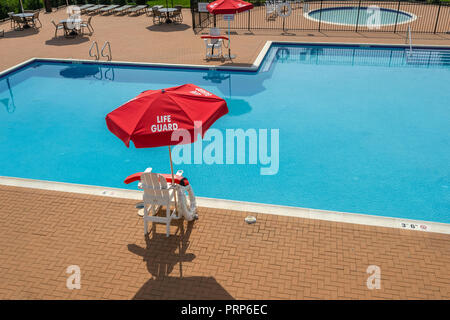 Life Guard Stand and Swimming Pool Nobody - Stock Image