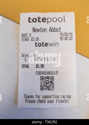 Tote betting slips for Southfield Vic at Newton Abbot horse racing course, Devon, UK. - Stock Image