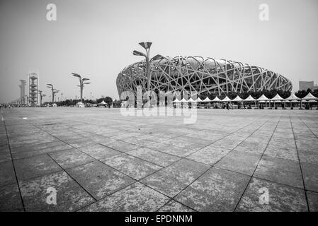Birds nest Olympic Stadium in Beijing, China - Stock Image