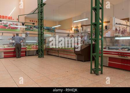 Butchers Food market Korca Albania - Stock Image