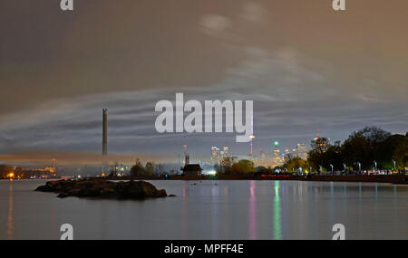 Toronto cityscape skyline view from the Beach area in summer eveniing - Stock Image