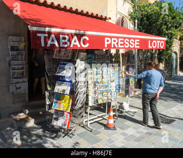 A Tabac, or tobacconist, newsagent, lottery shop in Grimaud, Var, South of France - Stock Image