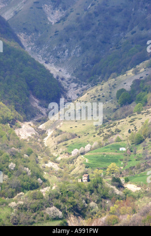 Remote Valley in the Sibillini national Park Mountains of Le Marche Italy - Stock Image