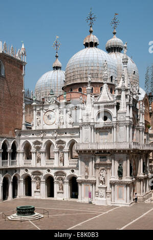 Basilica di San Marco St Marks Basilica Cathedral from the courtyard of the Palazzo Ducale or Doges Palace Venice - Stock Image