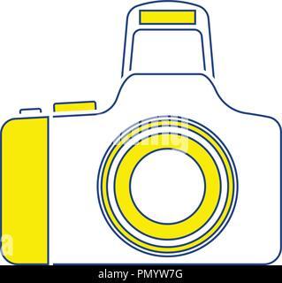 Photo camera icon. Thin line design. Vector illustration. - Stock Image