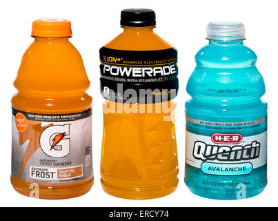 electrolyte drinks (Powerade, Gatorade, and Quench) - Stock Image
