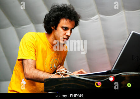 Four Tet live at Field Day festival in Victoria Park London. - Stock Image