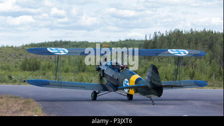 VL Viima training aircraft, designed in Finland and having served the FAF in 1936–1960, participating in 100 years anniversary Air Show at Tikkakoski. - Stock Image