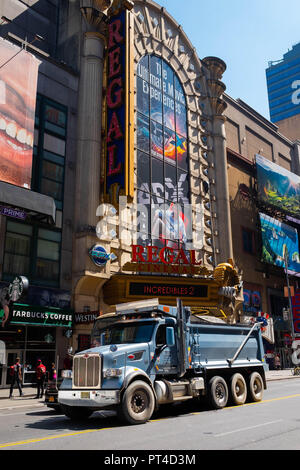 A huge truck drives through the busy streets of Times Square in Midtown Manhattan, New York - Stock Image