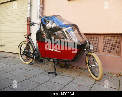 Bicycle with Baby Cabin wagon Germany Europe - Stock Image