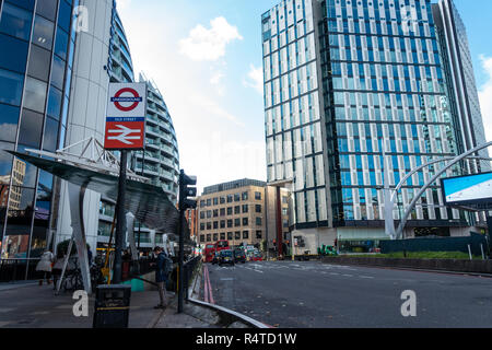 A sign on Old Street and steps leading down at the Silicon Roundabout indicates that you are at Old Street London Underground Station - Stock Image