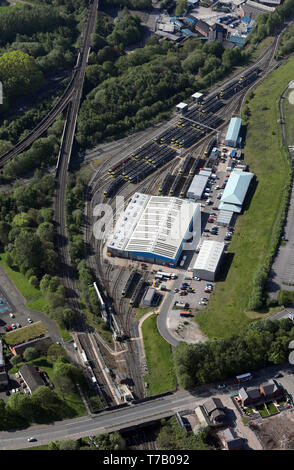 aerial view of Newton Heath Train Maintenance Depot, East Manchester - Stock Image