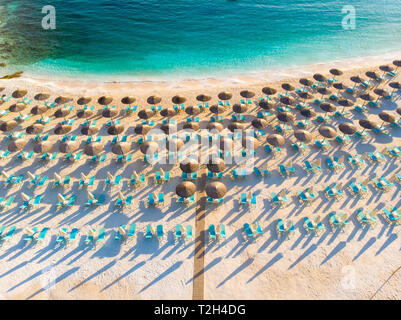 Aerial view of famous Marble Beach in Greece, Thassos Island - Stock Image