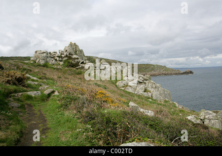 Coast Near Lamorna Cove with Carn-du in the Background, Cornwall, Britain UK - Stock Image